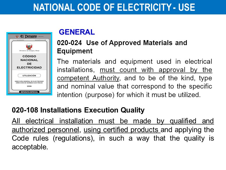NATIONAL CODE OF ELECTRICITY - USE
