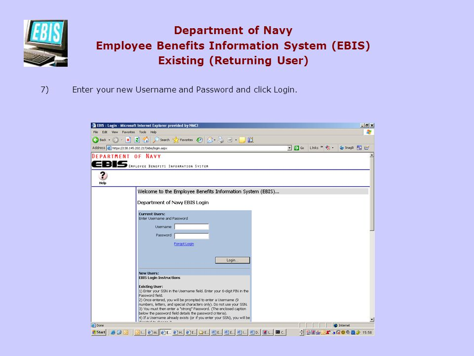 Department of Navy Employee Benefits Information System (EBIS) Existing (Returning User)