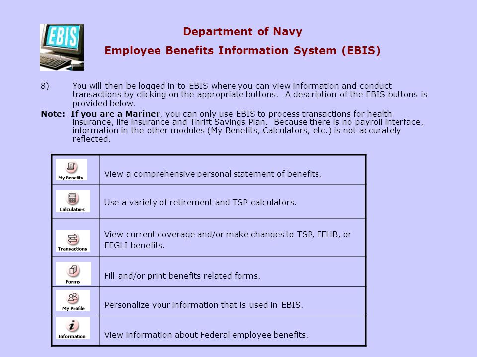Department of Navy Employee Benefits Information System (EBIS)