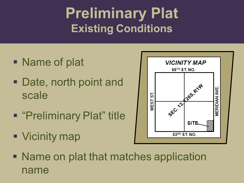 Preliminary Plat Existing Conditions Name of plat