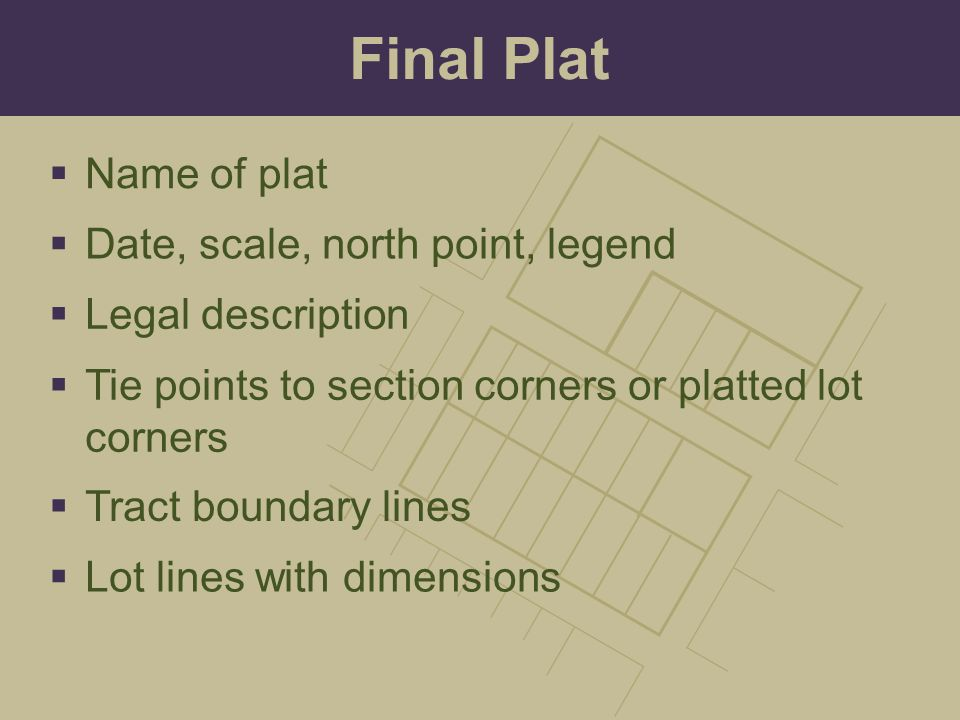 Final Plat Name of plat Date, scale, north point, legend