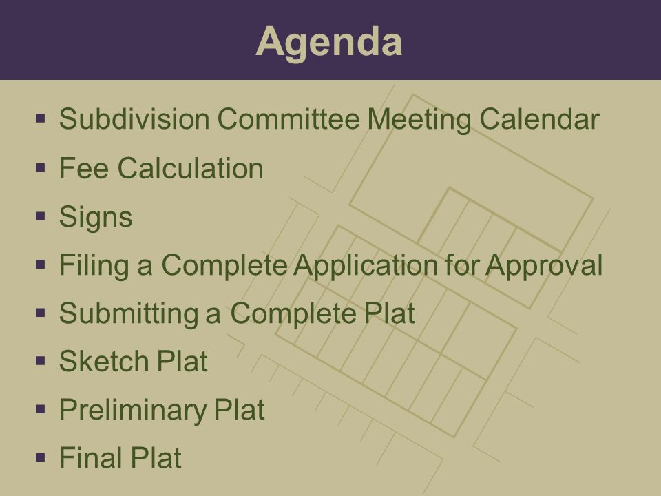 Agenda Subdivision Committee Meeting Calendar Fee Calculation Signs
