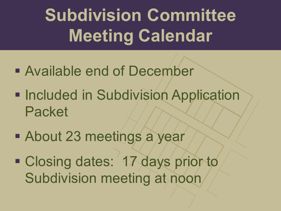 Subdivision Committee Meeting Calendar