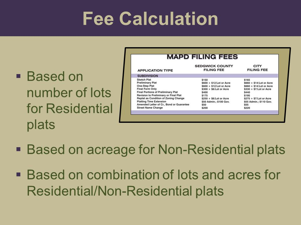 Fee Calculation Based on number of lots for Residential plats