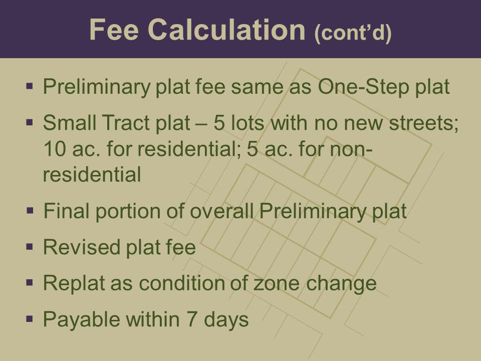 Fee Calculation (cont'd)
