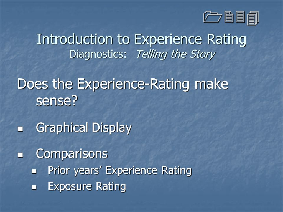 Introduction to Experience Rating Diagnostics: Telling the Story