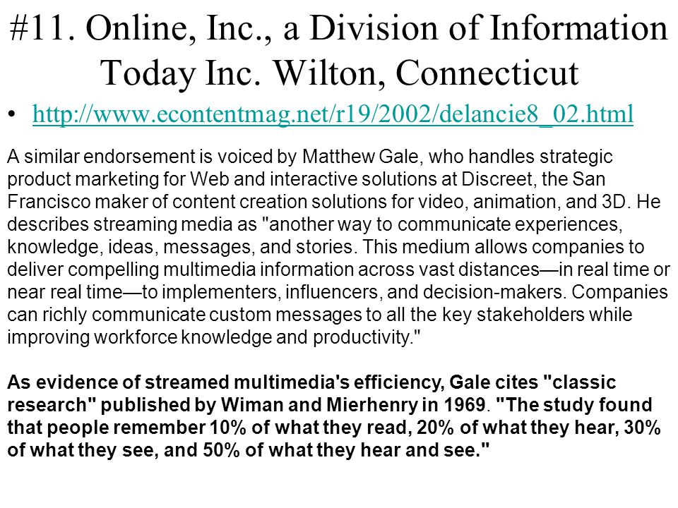 #11. Online, Inc. , a Division of Information Today Inc