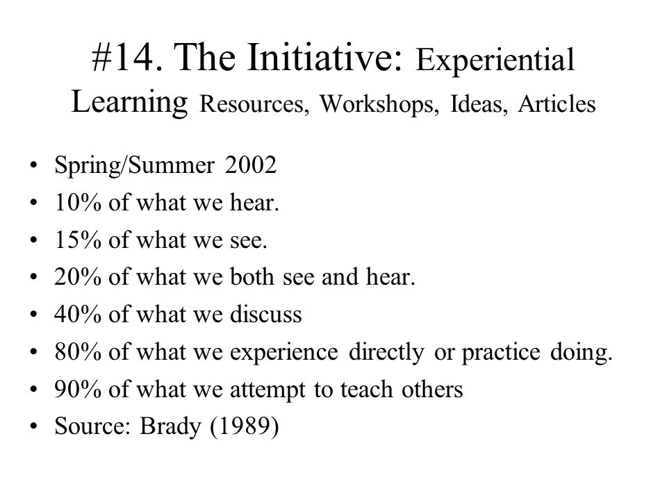 #14. The Initiative: Experiential Learning Resources, Workshops, Ideas, Articles