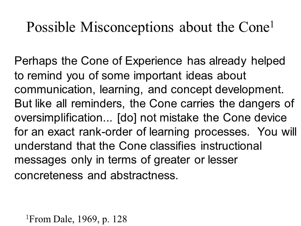Possible Misconceptions about the Cone1