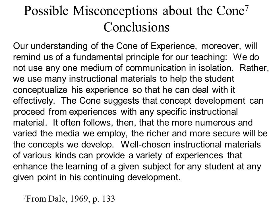 Possible Misconceptions about the Cone7 Conclusions