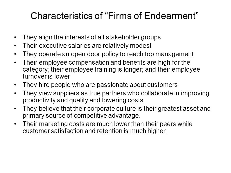 Characteristics of Firms of Endearment