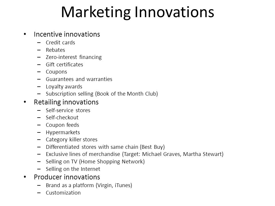 Marketing Innovations
