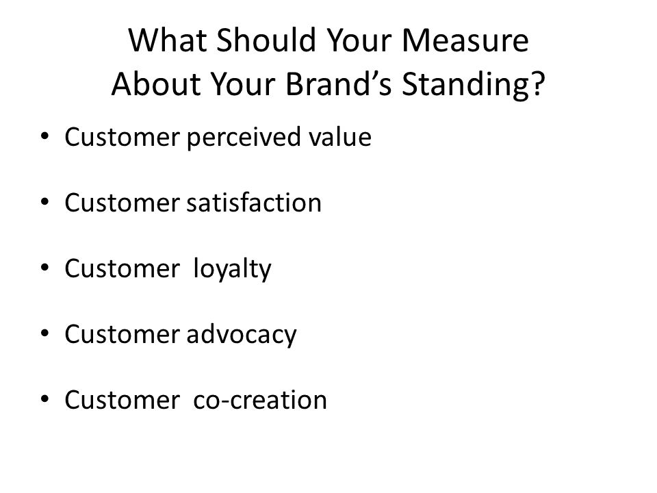 What Should Your Measure About Your Brand's Standing