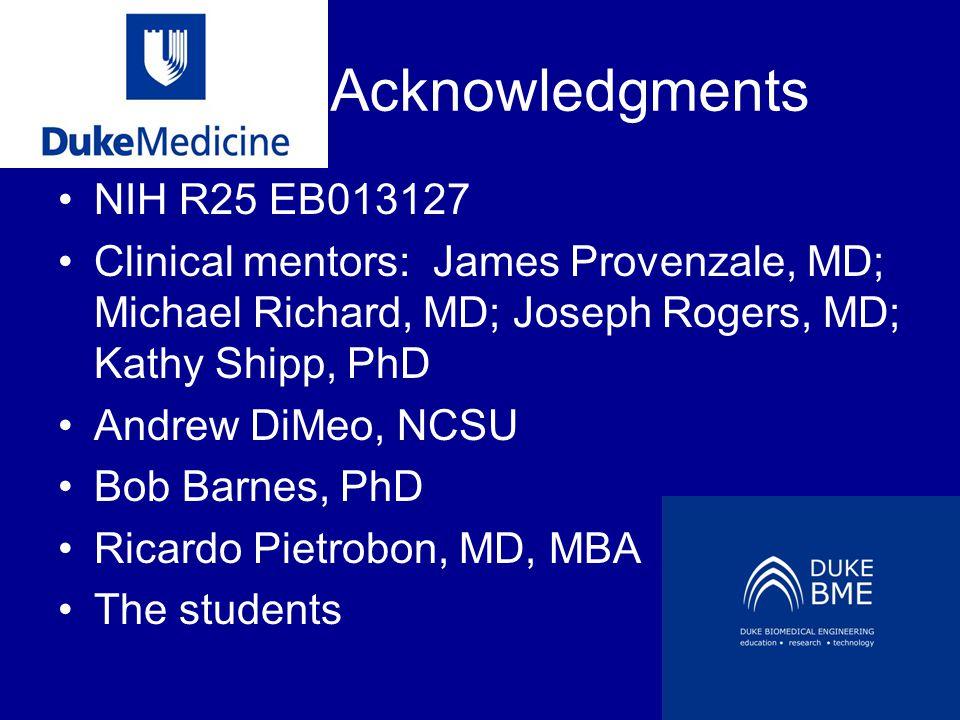 Acknowledgments NIH R25 EB013127