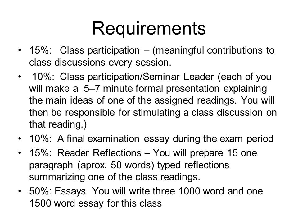 Requirements 15%: Class participation – (meaningful contributions to class discussions every session.