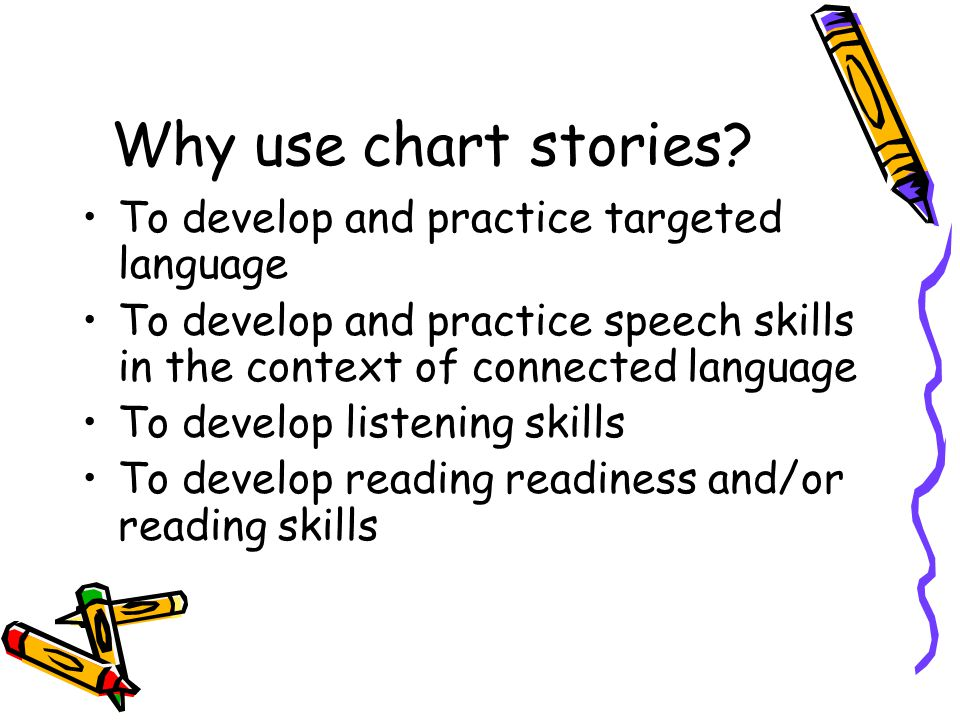 Why use chart stories To develop and practice targeted language
