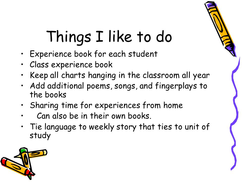 Things I like to do Experience book for each student