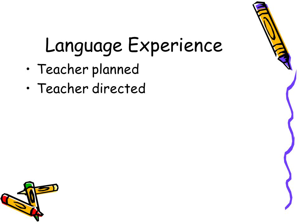Language Experience Teacher planned Teacher directed