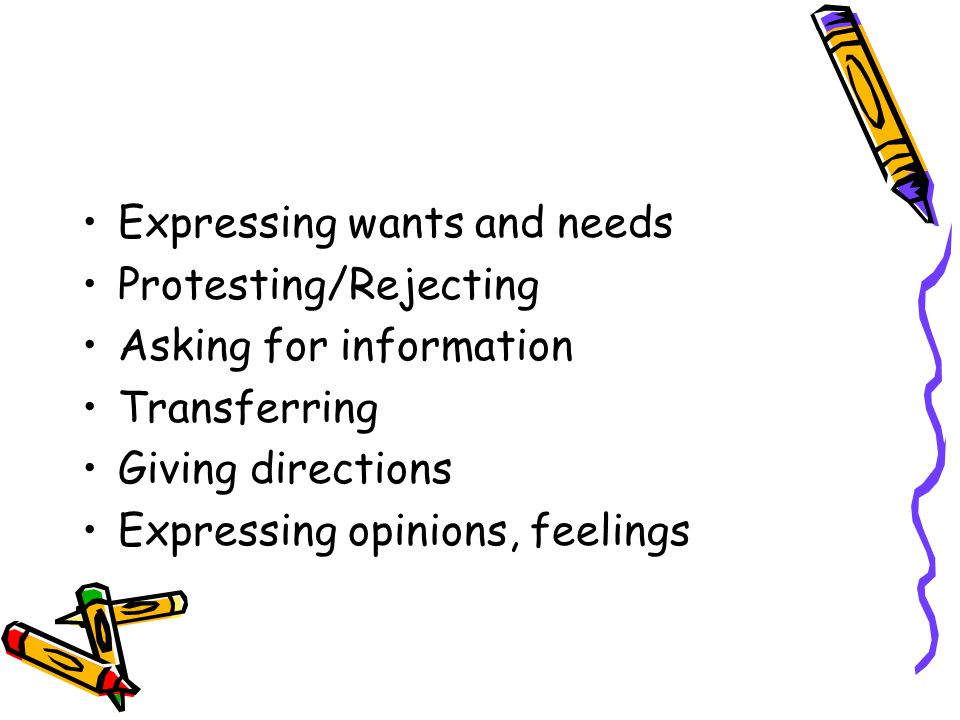 Expressing wants and needs