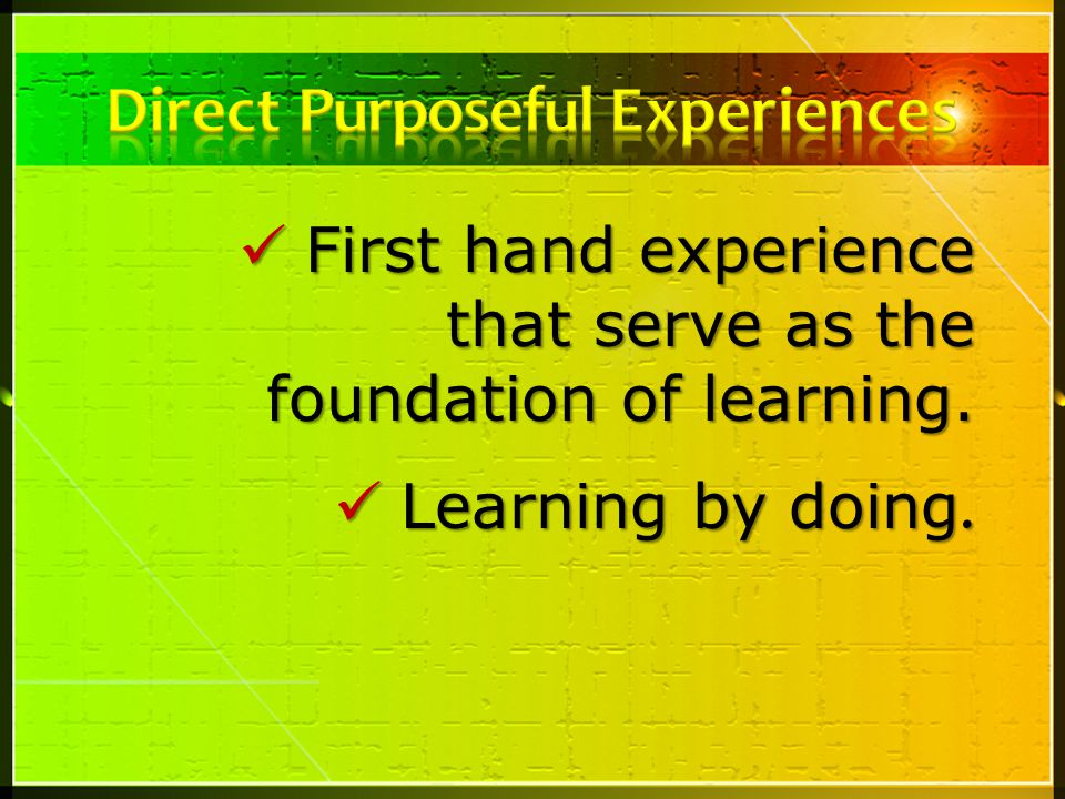 Direct Purposeful Experiences