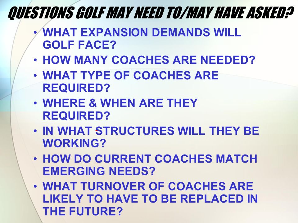 QUESTIONS GOLF MAY NEED TO/MAY HAVE ASKED