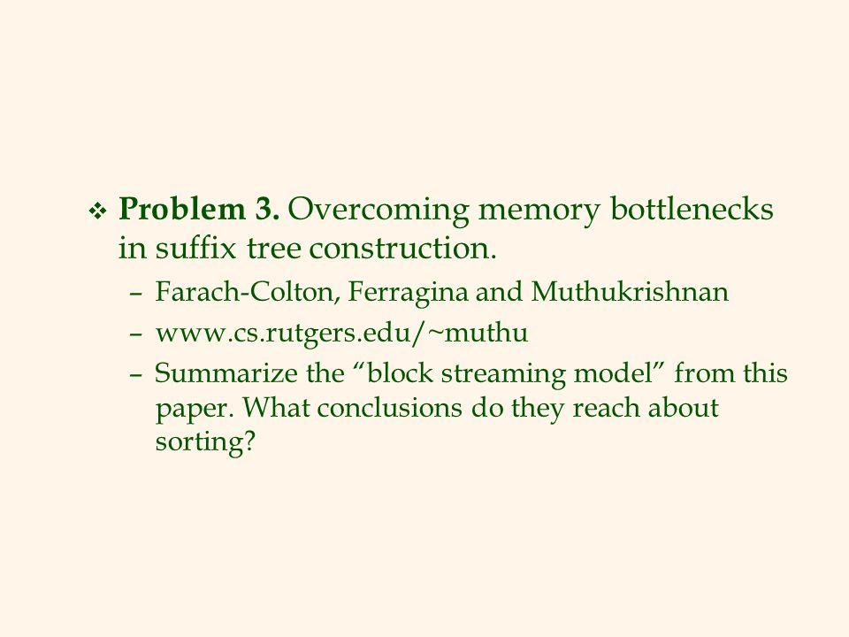 Problem 3. Overcoming memory bottlenecks in suffix tree construction.