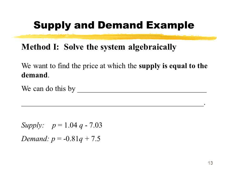 Supply and Demand Example