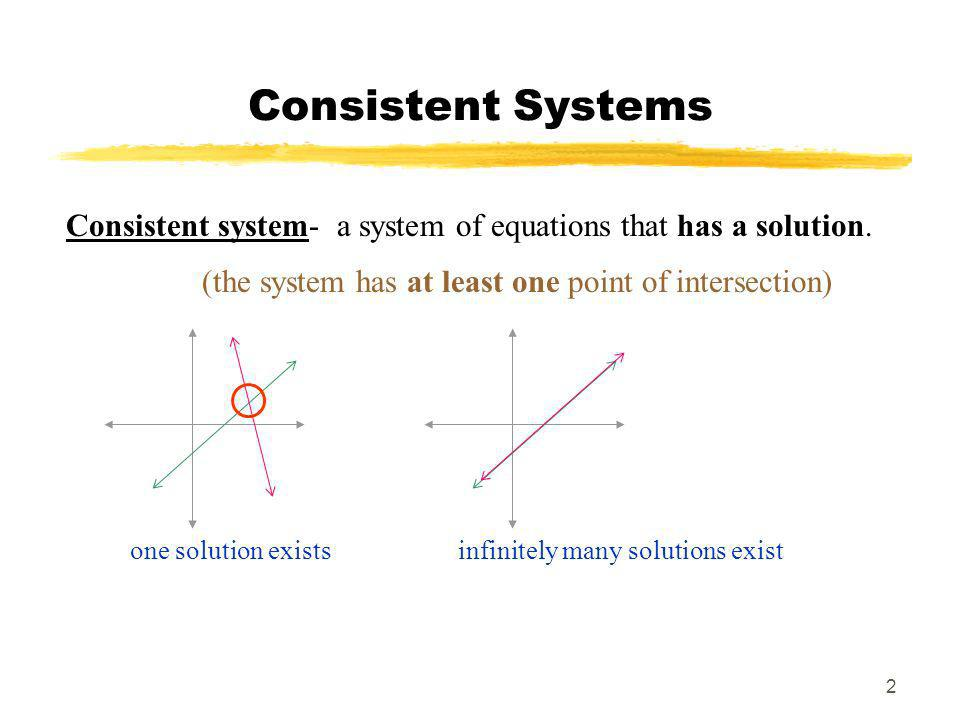 Consistent Systems Consistent system- a system of equations that has a solution. (the system has at least one point of intersection)