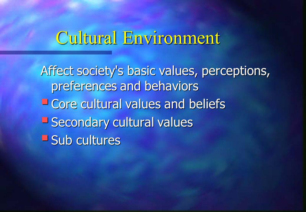 Cultural Environment Affect society s basic values, perceptions, preferences and behaviors. Core cultural values and beliefs.