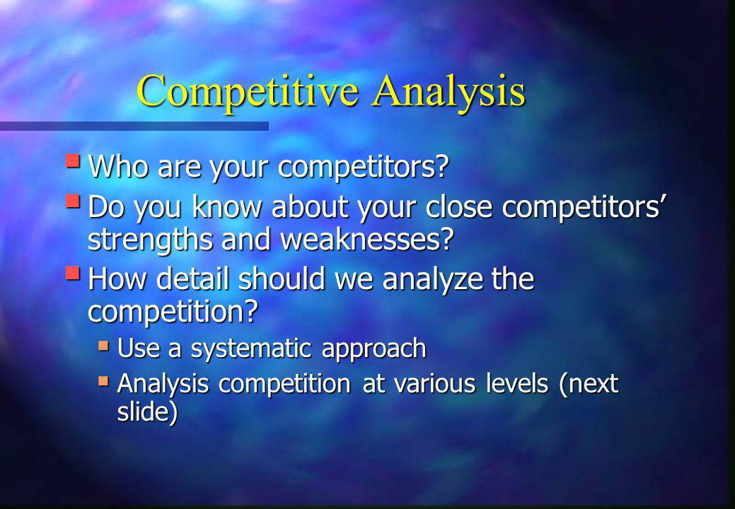 Competitive Analysis Who are your competitors
