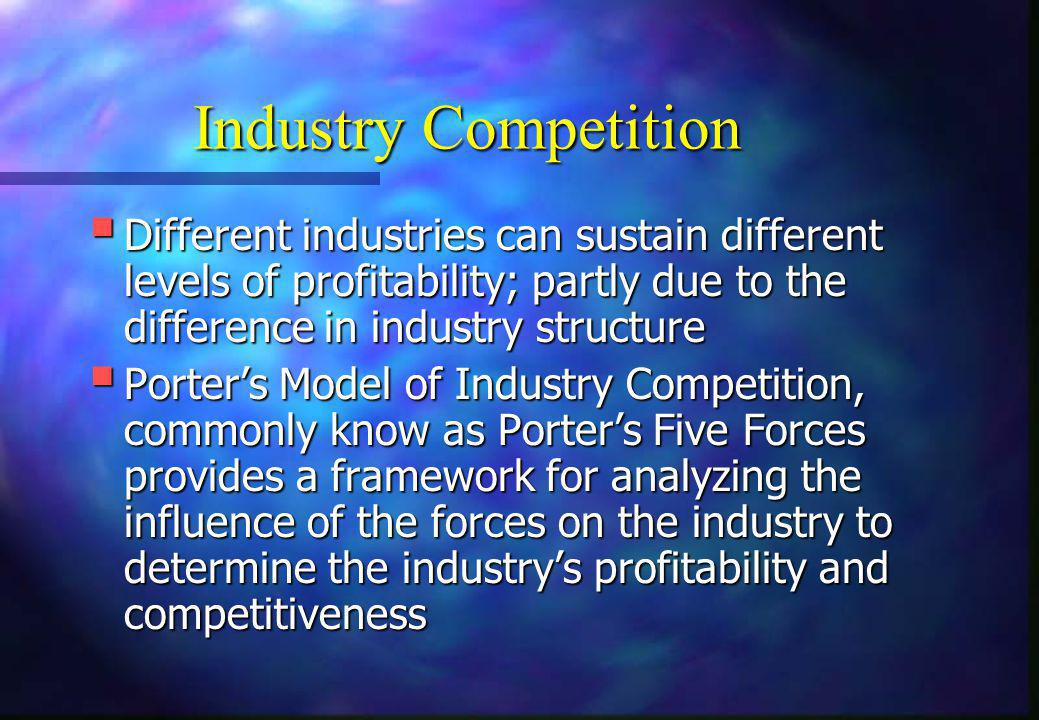 Industry Competition Different industries can sustain different levels of profitability; partly due to the difference in industry structure.