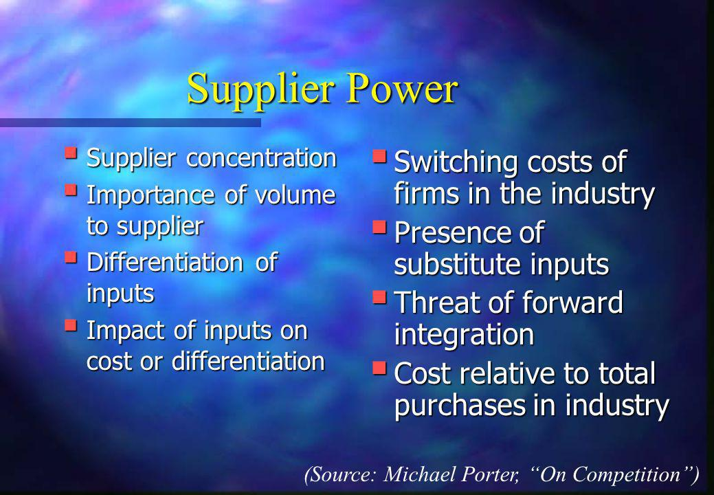 Supplier Power Switching costs of firms in the industry