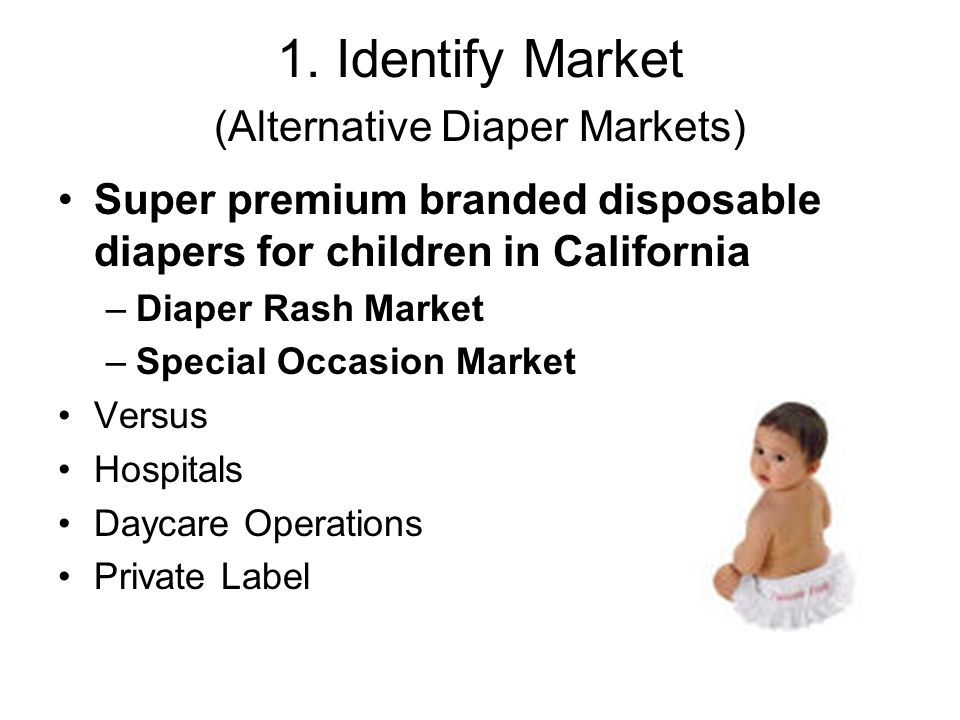 1. Identify Market (Alternative Diaper Markets)