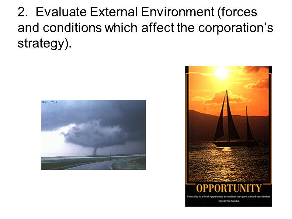 2. Evaluate External Environment (forces and conditions which affect the corporation's strategy).