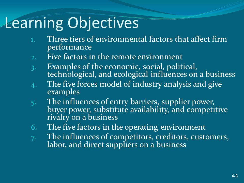 Learning Objectives Three tiers of environmental factors that affect firm performance. Five factors in the remote environment.
