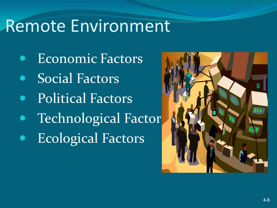 Remote Environment Economic Factors Social Factors Political Factors
