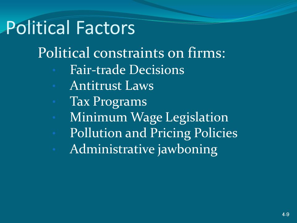 Political Factors Political constraints on firms: Fair-trade Decisions