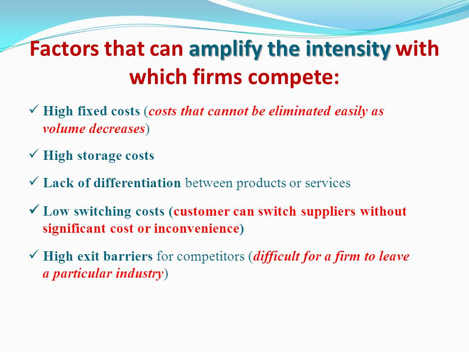 Factors that can amplify the intensity with which firms compete: