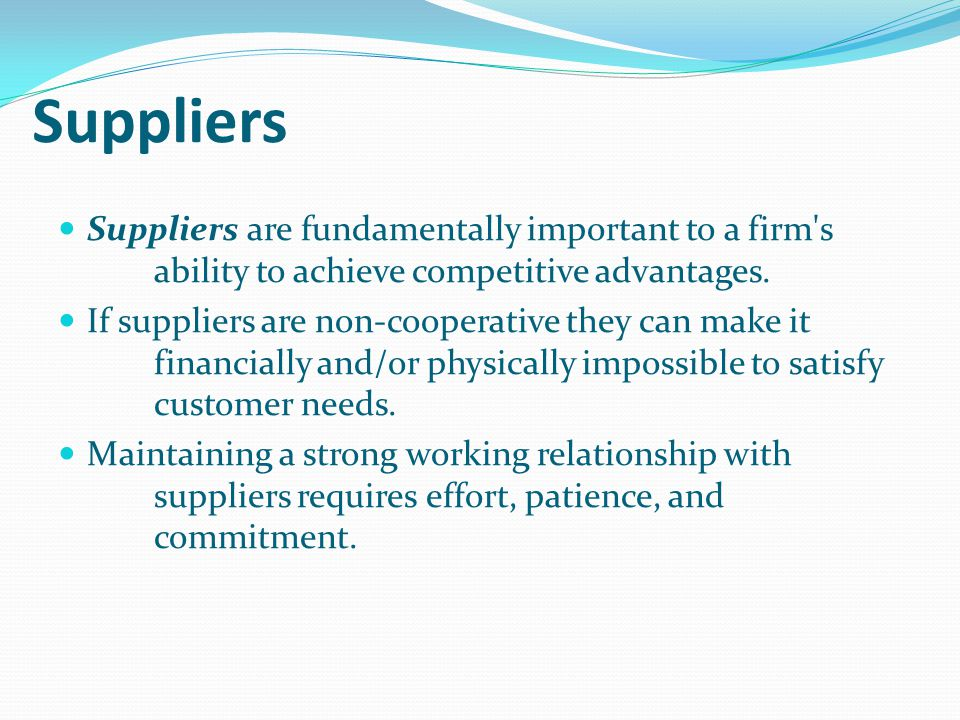 Suppliers Suppliers are fundamentally important to a firm s ability to achieve competitive advantages.