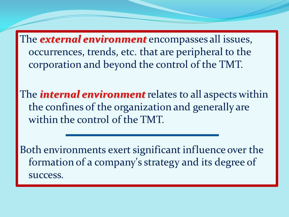 The external environment encompasses all issues, occurrences, trends, etc.