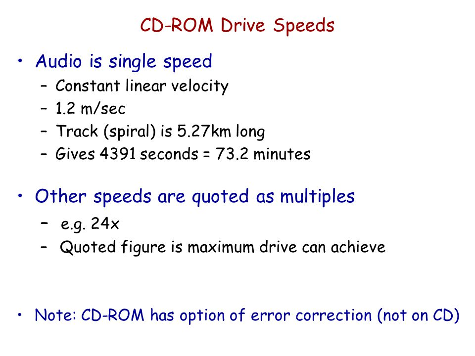 Other speeds are quoted as multiples e.g. 24x
