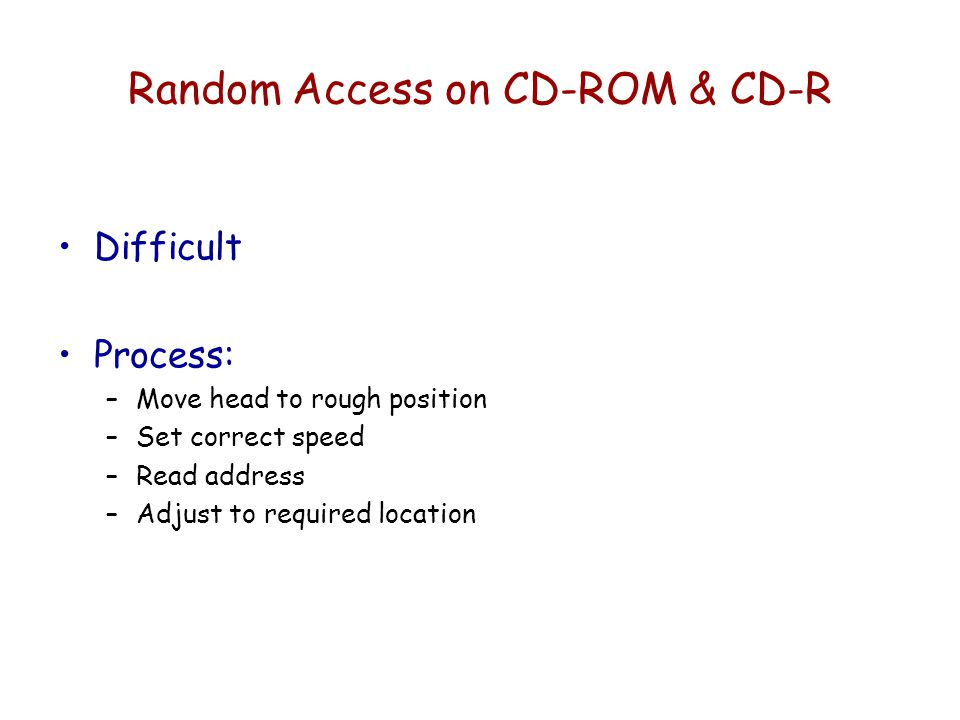 Random Access on CD-ROM & CD-R