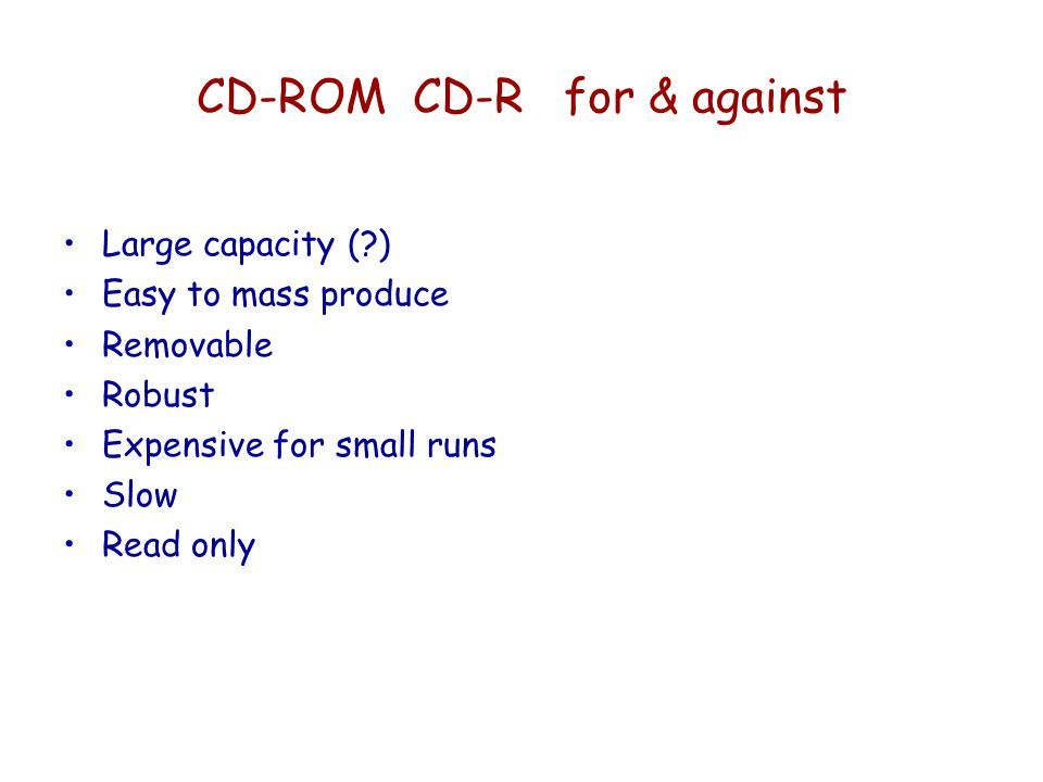 CD-ROM CD-R for & against