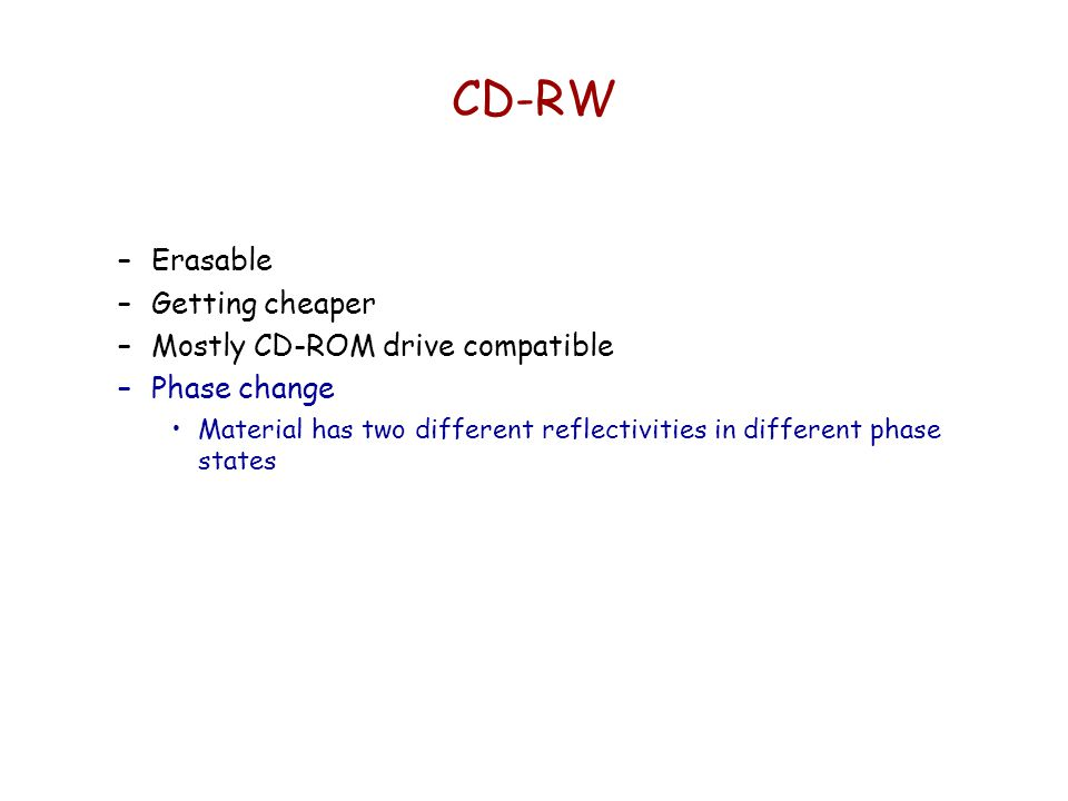 CD-RW Erasable Getting cheaper Mostly CD-ROM drive compatible