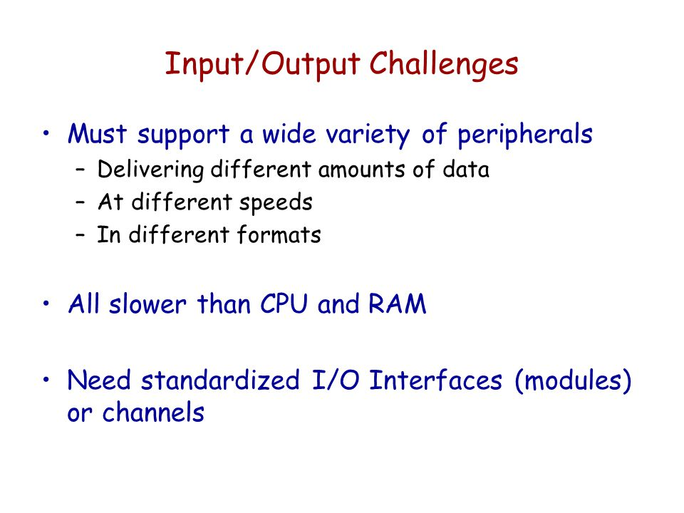 Input/Output Challenges