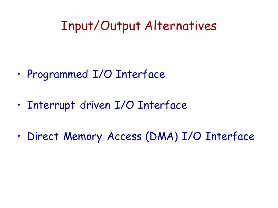 Input/Output Alternatives