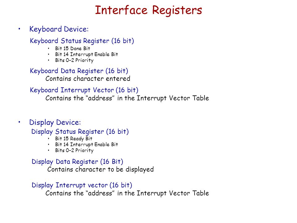 Interface Registers Keyboard Status Register (16 bit) Keyboard Device: