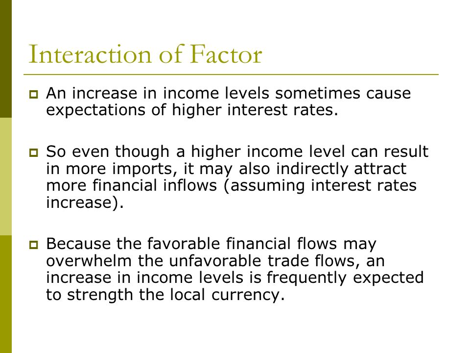 Interaction of Factor An increase in income levels sometimes cause expectations of higher interest rates.