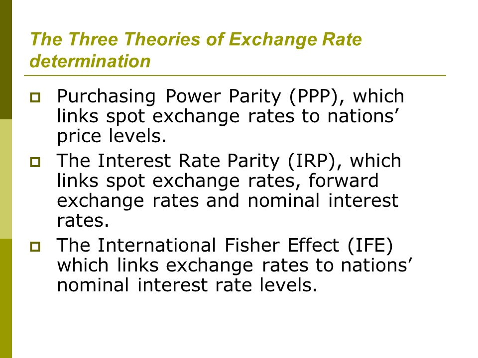 The Three Theories of Exchange Rate determination