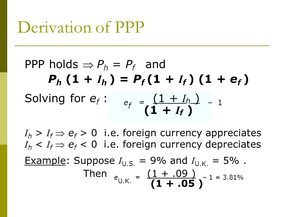 Derivation of PPP PPP holds  Ph = Pf and
